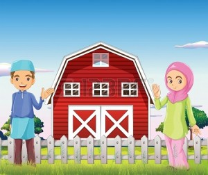 20518287-illustration-of-a-male-and-a-female-muslim-in-front-of-a-barnhouse